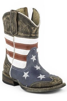 Roper Boots Infant Blue Leather 5in USA Flag American Cowboy