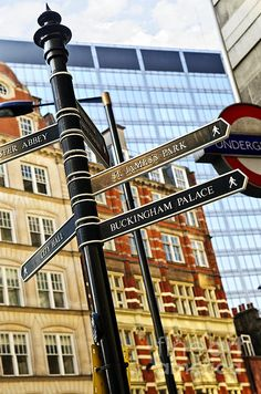 Signpost in London fine art photography print - Copyright © Elena Elisseeva England And Scotland, England Uk, London England, Oxford England, Cornwall England, Yorkshire England, Yorkshire Dales, Big Ben, Posters Vintage