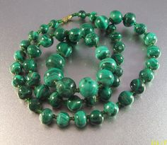 Vintage Malachite Bead Necklace 85 grams 24 by LynnHislopJewels