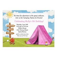 Camping Party Invitation for Girl