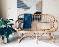 Franco Albini Style Rattan Settee, Rattan Loveseat, Rattan Sofa, Bamboo Settee, Bamboo Loveseat, Rattan Furniture, Bohemian Settee