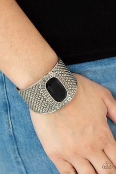 Paparazzi Accessories - Poshly Pharaoh - Black Bracelet Paparazzi Accessories, Paparazzi Jewelry, Silver Pearls, Silver Cuff, Black Gems, Whimsical Fashion, Feather Design, Black Bracelets, Blue Pearl