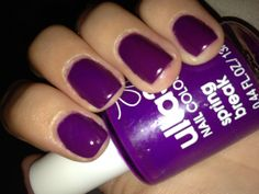 Purple nails which remind me if the Cadbury colours