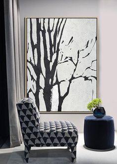 Black and white Tree Minimalist Art acrylic painting contemporary art by CZ Art Design Black And White Tree, Black And White Painting, White Art, Minimalist Painting, Minimalist Art, Abstract Landscape, Abstract Art, Abstract Trees, Painters Tape Art