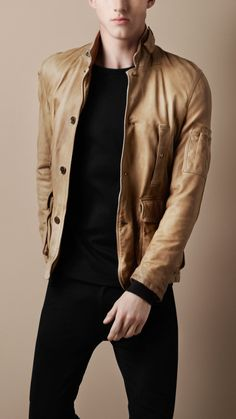 Burberry washed leather military jacket