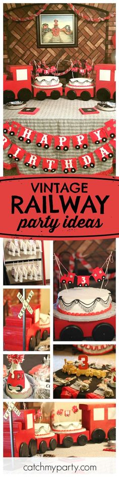 All aboard this adorable grandson and granddad Vintage Railway birthday party! Love the train cake stand!! See more party ideas and share yours at CatchMyParty.com