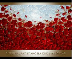 Original Modern Red Poppies Flowers Handpainted Acrylic Heavy Impasto Texture Painting by Angela Cox..  This listing is for a MADE TO ORDER ORIGINAL painting of a previously sold one, seen in the images above. Your painting will be the same size, and VERY SIMILAR composition/colors. Will take approximately 5-7 days to complete and ship (depending on size).  Size: 36 x 24 x 1.4.  Gallery back wrapped stretched canvas, black painted edges- ready to hang. Medium: Mixed Media, Acrylic impasto…