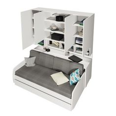 Multimo - Compact Sofa, Cabinets Wall System, Semi-Gloss White, Without Mattress Cover - Murphy Beds Best Murphy Bed, Murphy Bed Plans, Murphy Bed Sofa, Murphy-bett Ikea, Tiny House Furniture, Compact Furniture, Modern Murphy Beds, Upholstered Platform Bed, Bed Wall