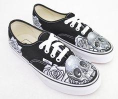 Black   White Skull   Rose on Black Vans Authentic - Custom Hand Painted  Shoes 54afbb4c1c