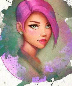Big green eyes and pink hair :) Grandi occhi verdi e capelli rosa #painting #digital #watercolor #photoshop #sai #paint #pink #drawings #character #characterart #watercolors  - Art by Gabrielle