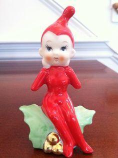 VINTAGE PIXIE ELF Christmas HOLIDAY COLLECTIBLE FIGURINE CERAMIC Figurine