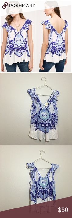 Anthropologie Maeve Printed Top Super cute and perfect dressed up or down! Brand new with tags. Size 12P. No trades!! 011117120 Anthropologie Tops Blouses