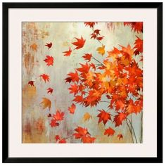 Art.Com Orange Crimson Foliage By Asia Jensen Framed Art Print (€300) ❤ liked on Polyvore featuring home, home decor, wall art, orange, leaf home decor, orange home accessories, orange wall art, leaf wall art and leaves wall art