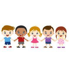 Multicultural children hand in hand vector 1158440 - by paul_june on VectorStock®