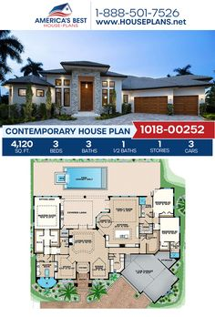 Full of sophisticated charm, Plan 1018-00252 details a Contemporary home with 4,120 sq. ft., 3 bedrooms, 3.5 bathrooms, split bedrooms, a breakfast nook, an open floor plan, a lanai, a formal living room, a sitting room, and a study. #contemporaryhome #architecture #houseplans #housedesign #homedesign #homedesigns #architecturalplans #newconstruction #floorplans #dreamhome #dreamhouseplans #abhouseplans #besthouseplans  #homesweethome #buildingahome #buildahome #residentialplans… Best House Plans, Dream House Plans, Dream Houses, House Floor Plans, Contemporary House Plans, Contemporary Bedroom, Kitchens And Bedrooms, Flat Roof, Formal Living Rooms