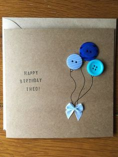 Geburtstagskarte - My siteGreat way to use up all those tiny buttons I've collected! Handmade Birthday Cards, Happy Birthday Cards, Diy Birthday, Greeting Cards Handmade, Cute Cards, Diy Cards, Fabric Cards, Button Cards, Diy Buttons