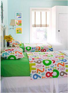 Adorable. So bright & colorful. Ikea bedding