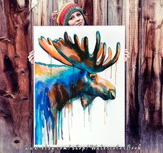 Moose watercolor painting print animal watercolor by SlaviART