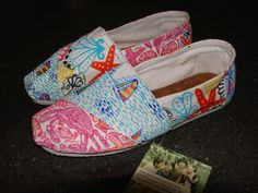 Lilly Pulitzer Inspired Handpainted Toms- Multi Pattern. $90.00, via Etsy.