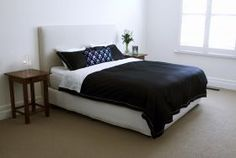 Our Classic Black set with the attachable white bamboo/cotton top sheet is a perfect match for a white bedroom