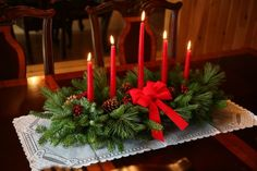 Big Red Candles For Christmas Table Centerpiece Also Artifical Leaves Cherries And Round Metal Plate Decoration Floating Candle Centerpiece Ideas For Table Decorations table Elegant Christmas Centerpieces, Candle Centerpieces, Christmas Table Decorations, Christmas Candles, Decoration Table, Centerpiece Ideas, Coffee Decorations, Holiday Tablescape, Winter Centerpieces
