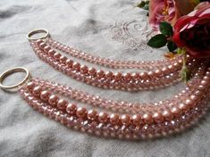 SET OF 2 Pink crystals glass pearls by MilanChicChandeliers