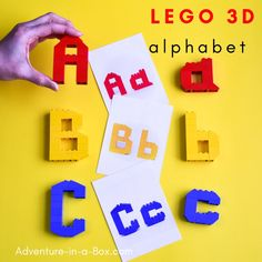 Use these printable LEGO alphabet mats to combine early literacy with STEM and teach letters in a playful hands-on way! 3d Alphabet, Teaching The Alphabet, Alphabet Cards, Animal Alphabet, Alphabet Activities, Free Printable Cards, Printable Designs, Printables, Lego 3d
