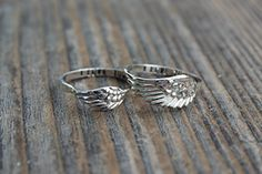 Follow us to http://freecycleusa.com A Set of Personalized Customized Angel Wing Rings 4 & 5 Ring Set- Sterling Silver Mother Daughter Ring Set - Angel feather wing ring