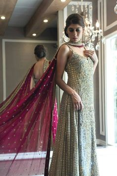Gorgeous light blue and gold sleeveless anarkali with dark pink dupatta Indian Wedding Outfits, Pakistani Outfits, Bridal Outfits, Indian Outfits, Bridal Dresses, Indian Clothes, Party Dresses, Dress Indian Style, Indian Dresses