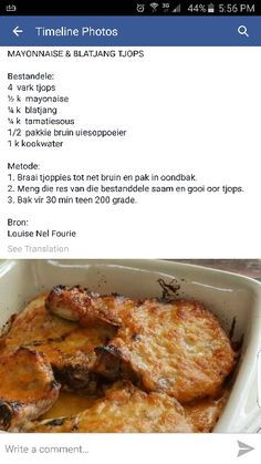 Mayonnaise en blatjang tjops mayonaise and chutney pork chops Braai Recipes, Pork Recipes, Cooking Recipes, Oven Recipes, Curry Recipes, Kos, South African Recipes, Pork Dishes, Light Recipes
