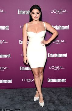 Winter white: Ariel Winter, wore a revealing skin tight number for the Entertainment Weekly Pre-Emmy Party in Los Angeles on Friday Winter Outfits Women, Winter Fashion Outfits, Beautiful Celebrities, Beautiful Actresses, Ariel Winter Hot, Arial Winter, Bollywood, L'oréal Paris, Up Girl