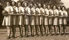 The 1948 All-Australian Netball Team. 3 ladies were inducted into Netball Australia's Hall of Fame on Saturday night, one of whom was Myrtle Baylis, who played netball for Australia in Netball Uniforms, Netball Australia, How To Play Netball, Popular Sports, Old Photography, Old Photos, The Past, Black And White, Blanco Y Negro