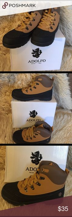 ADOLFO Men's Ralph Work Boots, Tan, size 9M ADOLFO Men's Ralph Work Boots, Tan, size 9M.  Lace up work boots.  Rounded toe.  Genuine leather lining.  Padded insole. Faux suede upper.  Rubber outsole.  Fit true to size. Adolfo Shoes Boots