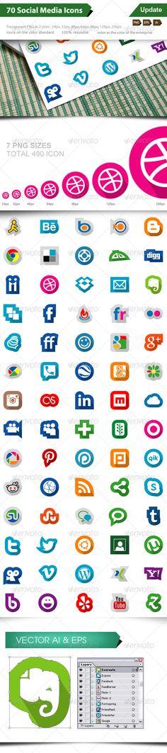 70 Social Media Icons  #
