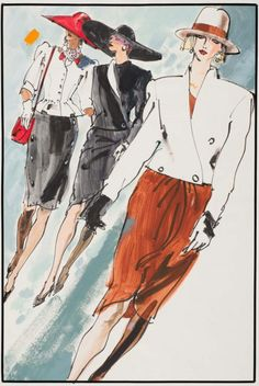 By Kenneth Paul Block, 1 9 8 2, Three models in suits by Yves Saint-Laurent, W Magazine.