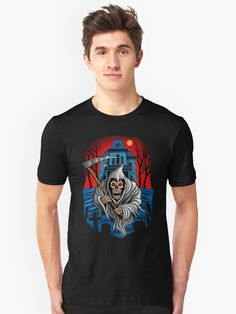 Blood - Phantasm - T-Shirt by Remus Brailoiu on TeePublic   #grimreaper #grim_reaper #reaper #blood #phantasm #phantom #death #scythe #retro_fps #video_game #fanart #arcade_shooter #fps #skeleton #skull #halloween #gothic_horror #monolith_productions Gothic Horror, Grim Reaper, My T Shirt, Tshirt Colors, Wardrobe Staples, Female Models, Skeleton, Arcade, Video Game