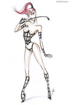 Art by Antoine Kruk for Maison Ernest Le Crazy Horse, Crazy Horse Paris, Cabaret, Roberto Cavalli, Karl Lagerfeld, Valentino, Ernest, Alpha Female, Costume