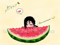 Watermelon MJ- Hahaha soo cute! :3 My Mikey is the cutest freaking thing ever!