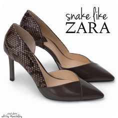 "ZARA snake skin like heels NEW in box, never worn and in excellent condition. snake skin looking material makes these heels fun but sophisticated.  size- 6 heel height- 3.25""  due to lighting- color of actual item may vary from photos.  please don't hesitate to ask questions. happy POSHing    use offer feature to negotiate price on single item  i do not trade or take any transactions off poshmark, so please do not ask. Zara Shoes Heels"