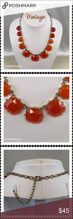 Beautiful Orange & Gold Statement Necklace  This necklace is AMAZING! Lovely orange shades set on Gold Plated settings. Adjustable chain with lobster claw clasp. Good weight to it and hangs beautifully. In excellent used condition and looking for a holiday party to shine at. Vintage Jewelry Necklaces