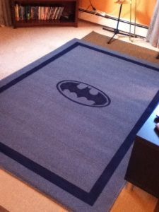 DIY Batman Rug - got given a cheap rug you don't really like? Don't chuck it. Upcycle it by painting it!