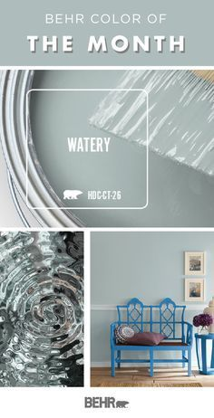 Check out the Behr Paint Color of the Month: Watery. This soft blue hue is a gorgeous addition to the walls of your home. Combine with darker shades to create a monochromatic look or use neutral white and warm wood accents to create a traditional style. Behr Paint Colors, Paint Colors For Home, House Colors, Basement Paint Colors, Paints For Home, Paint Colors For Kitchen, Entry Paint Colors, Furniture Paint Colors, Watery Paint Color