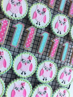Girly Pink Owl Decorated Cookies by peapodscookies