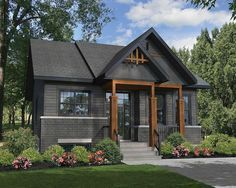 Rustic house plans - Plan Rustic Two Bedroom Getaway Black House Exterior, Rustic Exterior, House Paint Exterior, Exterior House Colors, Exterior Design, Dark Siding House, Rustic Home Exteriors, Outside House Paint Colors, Black Windows Exterior