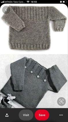 Free Baby Sweater Knitting Patterns, Knitting For Kids, Easy Knitting, Free Childrens Knitting Patterns, Baby Sweaters, Baby Boy Sweater, Sweater Design, Crochet, Knits