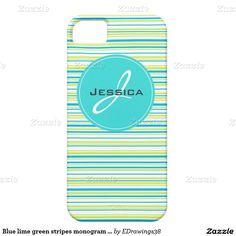 Blue lime green #stripes #pattern #monogram #iPhone 5 #phonecase