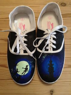 Hand painted Peter Pan shoes by LittleDaisyMouse on Etsy