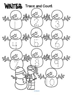 winter trace and count kidsparkz new activities for preschool numbers preschool preschool. Black Bedroom Furniture Sets. Home Design Ideas