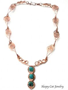 Bold Copper and Turquoise Necklace Handmade by SleepyCatJewelry, $50.00