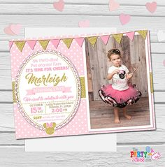 Minnie Mouse Invitation, Oh Twodles Invitation, Pink and Gold Minnie Mouse Birthday Invitations, Girls First Second Birthday Invite Minnie Mouse Birthday Invitations, Minnie Mouse First Birthday, Girl 2nd Birthday, Pink Invitations, Printable Birthday Invitations, Invite, Minnie Mouse Rosa, Minnie Mouse Party, Gold